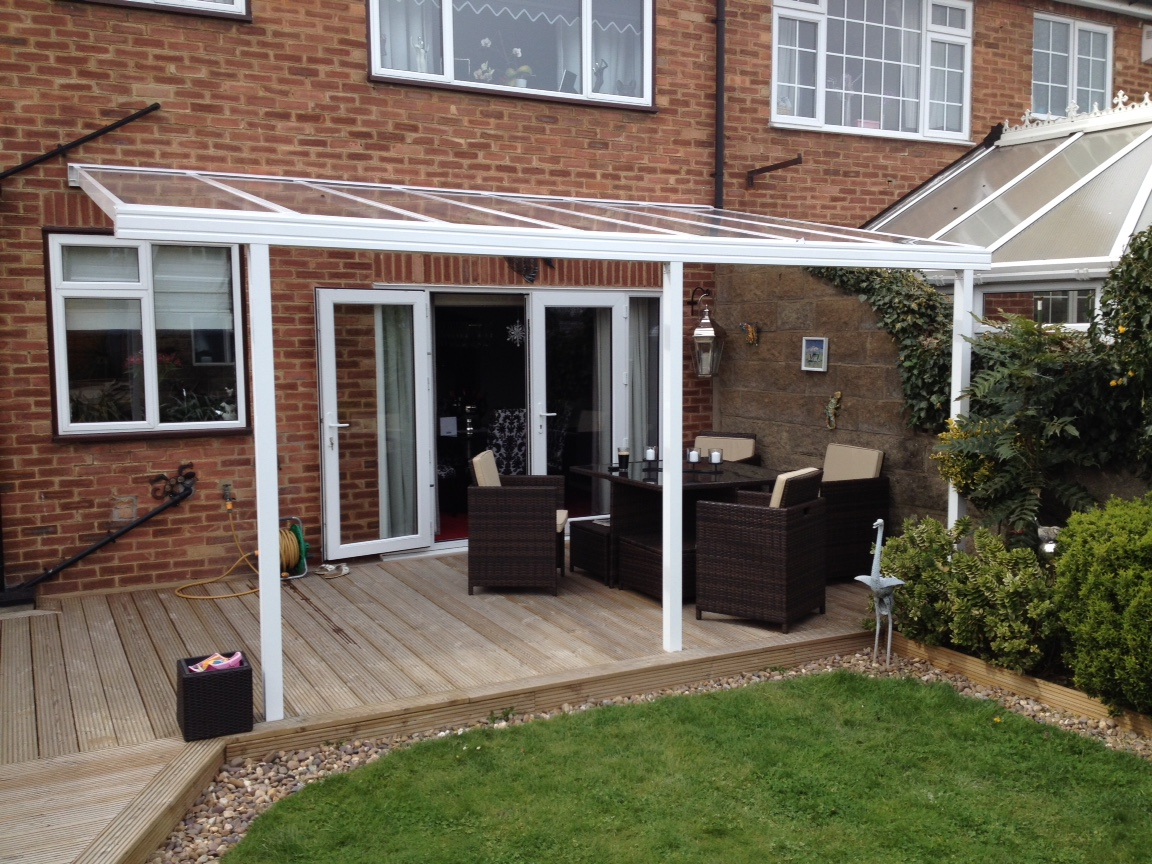 Another clear as glass decking cover lumac canopies for Garden decking designs uk
