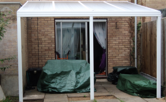 canopy, clear roof, side, door