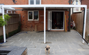 back garden canopy, block paved patio, custom fitted