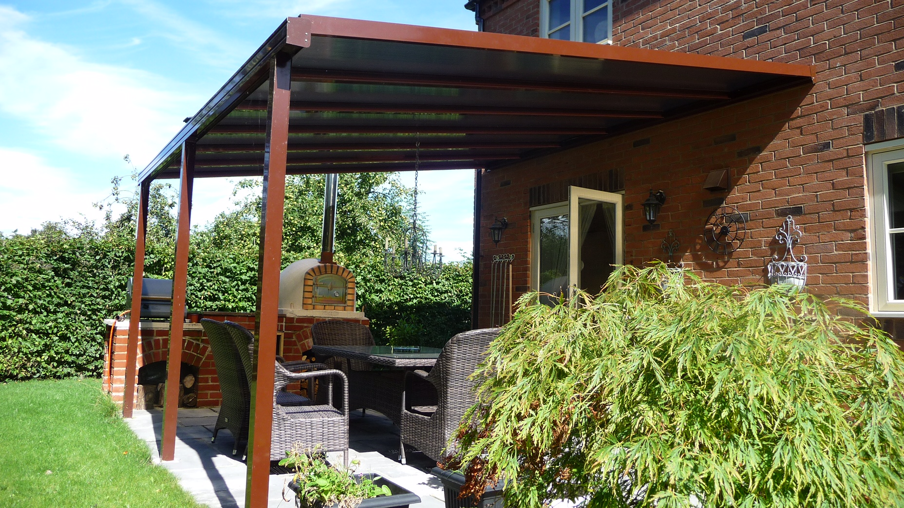 Brown Canopy, Pizza Oven, Brick base BBQ