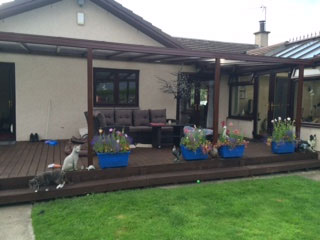 decking canopy, two tier decking, conservatory