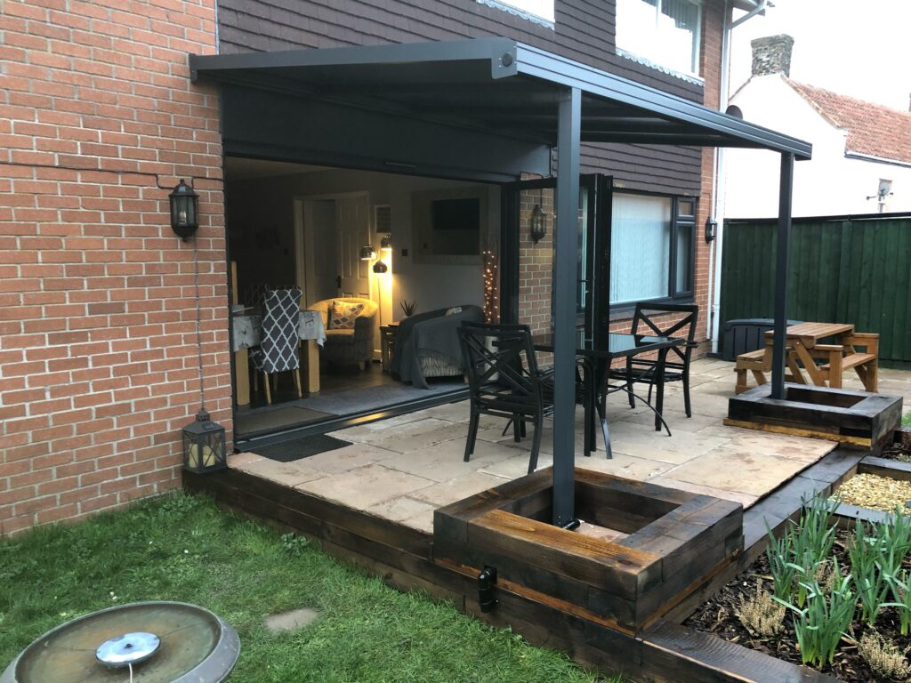 Grey canopy with footings